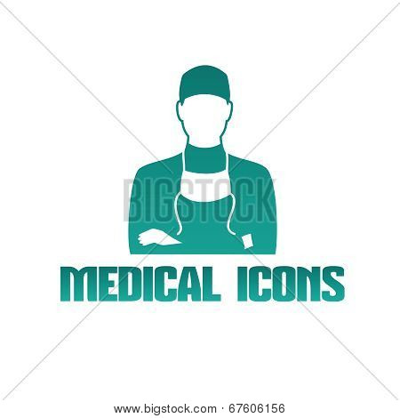 Medical icon with surgeon doctor