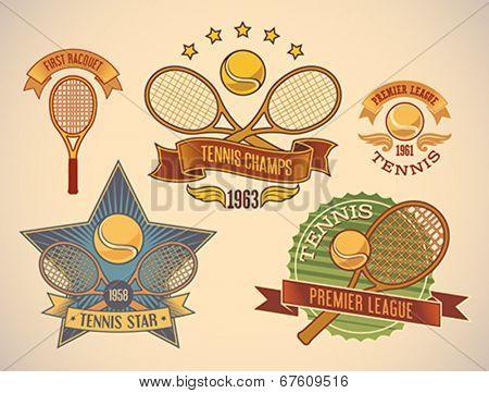 Set of vintage styled tennis tournament labels. Editable vector illustration.