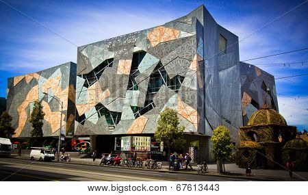 MELBOURNE, AUSTRALIA - OCTOBER 29 2012: Iconic Federation Square celebrated 10 Years.  Since opening on 26 October 2002 it has become one of the most visited attractions in Melbourne.
