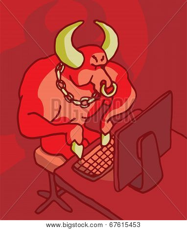 Bull In Front Of The Computer Cyber Bullying