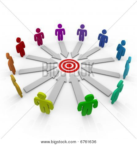 A group of competitors in a circle aiming for the same goal poster