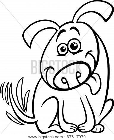 Funny Dog Cartoon Coloring Page