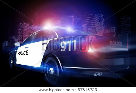 Police Cruiser In Rush
