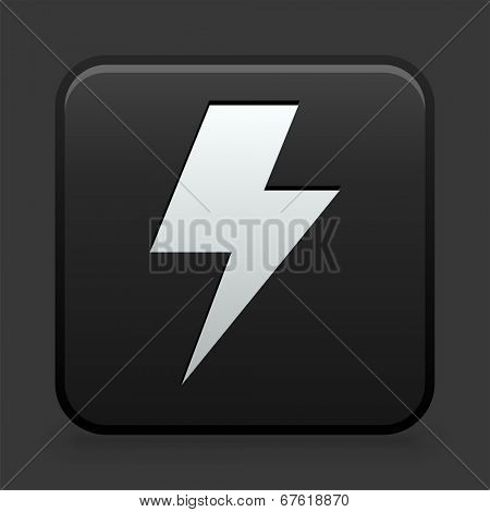 Lightning Bolt Icon on Black and White Button