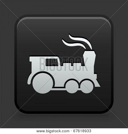 Locomotive Icon on Black and White Button