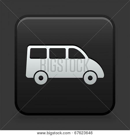 Van Icon on Black and White Button