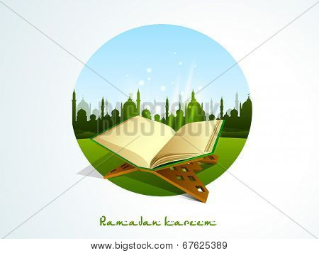Religious Islamic book Quran Shareef with green silhouette of mosque on nature background for holy month of muslim community Ramadan Kareem.