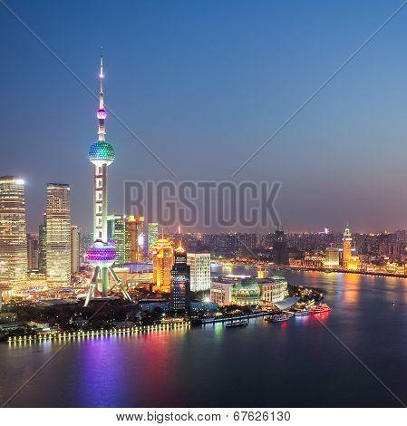The Beautiful Night View In Shanghai