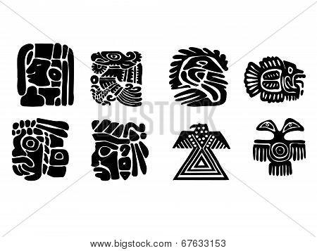 Maya Patterns. Black And White Drawings.