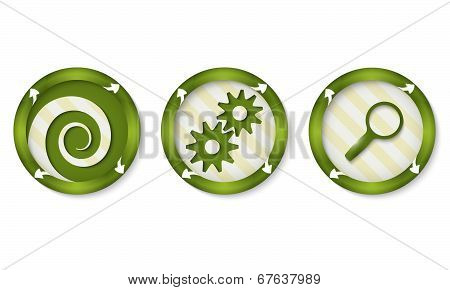 Set Of Three Icons With Symbols