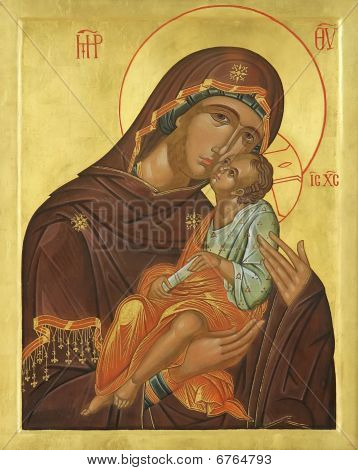 Wooden Icon Of The Virgin Mary Jesus Christ
