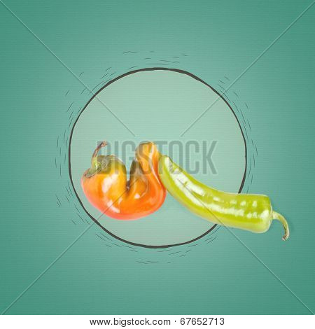 Orange And Green Pepper