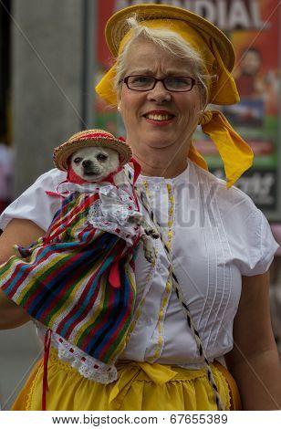 Festively dressed lady and dog