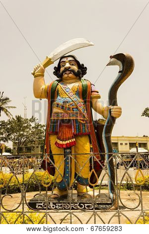 A tall statue of Hindu mythological demon Mahishasura