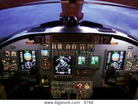 Instrument panel of a Cessna Citation Excel poster