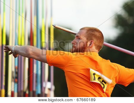 Javelin Throw Male Athlete Aim