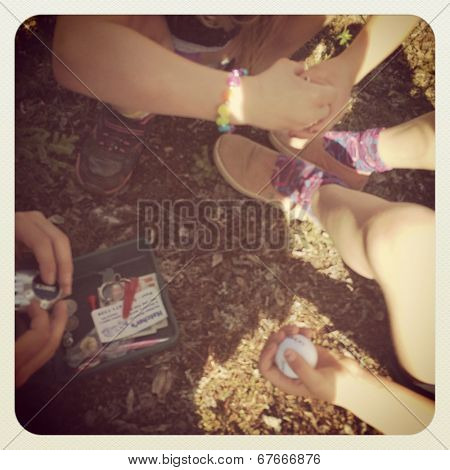 People geocaching with instagram effect