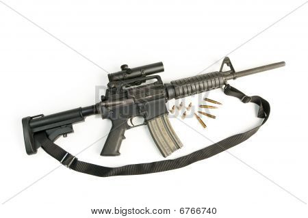 M16 Style Assault Rifle With Scope & Bullets On White