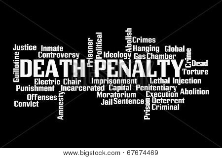 Death Penalty Word Cloud on Black Backgroud