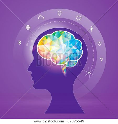 Human brain idea geometric info graphics design. Raster