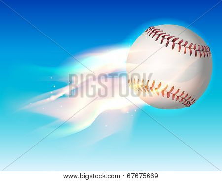 Flaming Baseball In The Sky Illustration