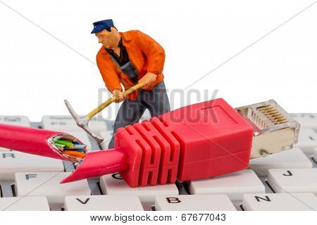 workers, network connector, keyboard, symbol photo for internet failure, maintenance, problem solving,