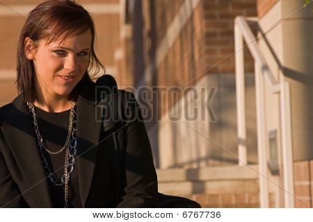 A young woman in sunlight.
