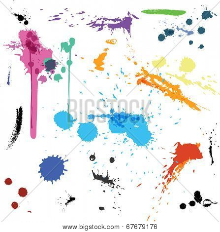 Color abstract vector background set ink paint splats