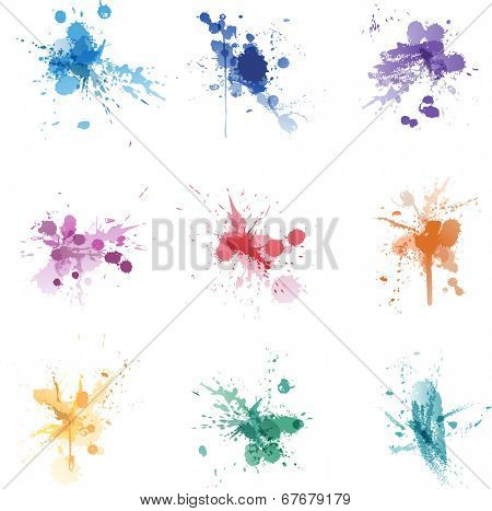 Vector ink paint splat colors set collection