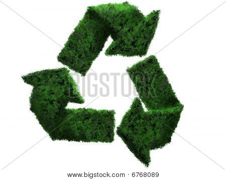 3D recycle grass symbol
