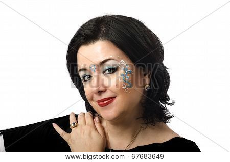 Blue And White Vedic Patterns On Woman Face