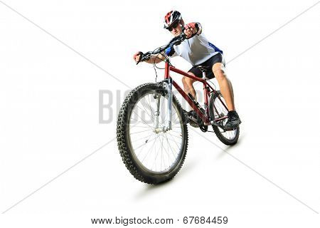 Male cyclist riding a mountain bike isolated on white background poster