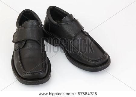Men Black Shoes Isolated On White Background