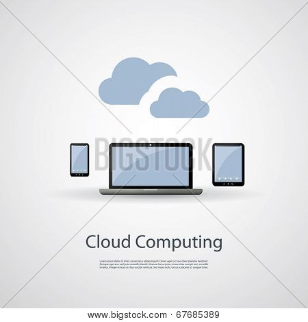Cloud Computing and Networks Concept with Laptop Computer, Tablet and Smartphone. Eps 10 Stock Vector Illustration