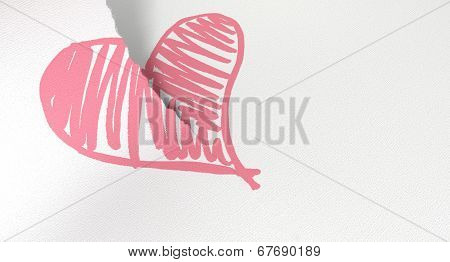 Sketched Pink Heart Torn In Two