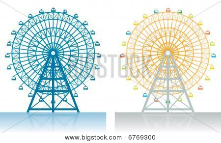 Two illustrations of a Ferris wheel at the fair. poster