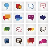 chat flat icon in different colors shapes sizes - vector icons. This graphic illustration also represents online talk speech bubbles community interaction mobile app messaging internet talk poster