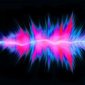 Graphic audio equalizer or waveform illustration with glowing plasma electricity flowing through the center. poster