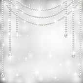 Gray background with pearl necklace. Vector illustrator poster