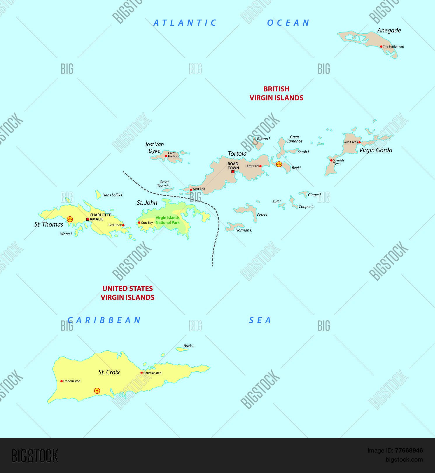 Virgin Islands Map Vector & Photo (Free Trial) | Bigstock