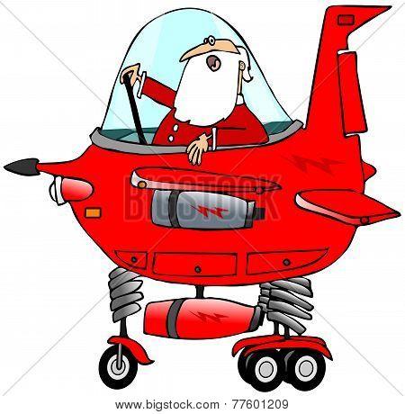 Santa piloting a starship