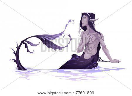Young triton. Vector cartoon illustration