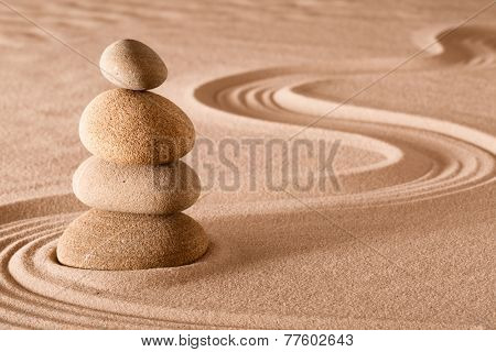 zen meditation garden stack of stones, relaxation and meditation through simplicity harmony and rock balance lead to health and wellness, balancing and concentration background with copy space poster