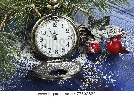 Happy New Year Pocket Fob Watch With Five To Midnight Time And Decorations On Dark Blue Rustic Distr