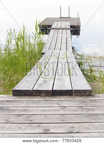 Wooden Boardwalk Leading Into Lake