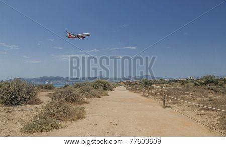 Air Berlin Jetliner Descending In Palma De Mallorca
