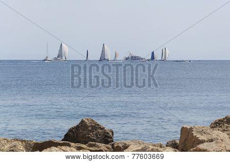 Sailboats Participating In The Copa Del Rei Regatta