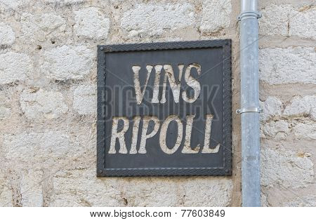 Winery Vins Ripoll Sign On Wall In Binissalem