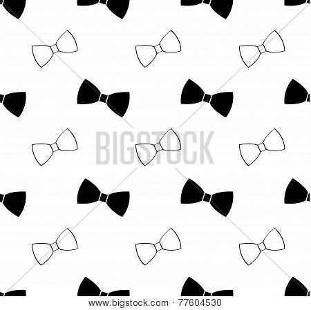 Seamless black and white bow tie pattern