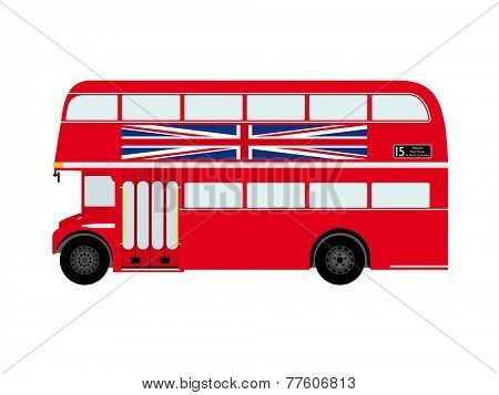 Red London Doubledecker Bus with Union Jack Flat Design Vector Illustration